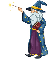 A wizard holding a magic wand and a book vector image vector image