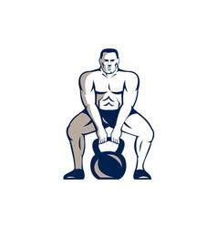 Athlete weightlifter lifting kettlebell retro vector