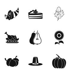 Autumn festival icons set simple style vector