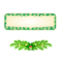 Banner christmas spruce and snowflakes vintage vector