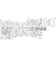 Benefits of gymnastics text word cloud concept vector