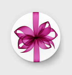 box with pink bow and ribbon top view close up vector image vector image