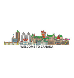 Canada outline skyline canadian flat thin line vector