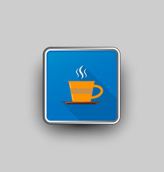 Coffee cup square icon vector