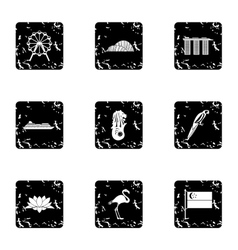 Country singapore icons set grunge style vector