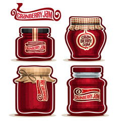 Cranberry jam in glass jars vector