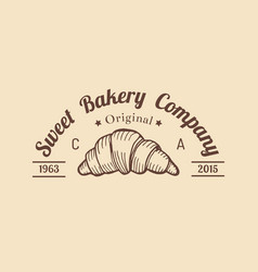 Croissant logo vintage bakery iconretro emblem vector