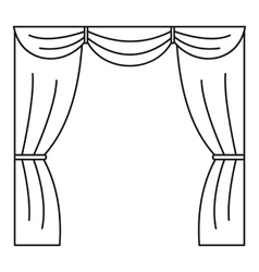 Curtain on stage icon outline style vector