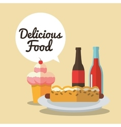 Delicius food ice cream and hot dog graphic vector image vector image