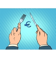 European euro knife and fork financial concept vector