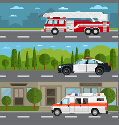 Fire truck police and ambulance car on highway vector