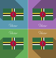 Flags Dominica Set of colors flat design and long vector image