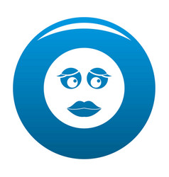 girl smile icon blue vector image