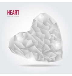Grey Polygonal heart on white vector image vector image