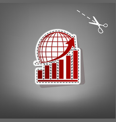 Growing graph with earth red icon with vector