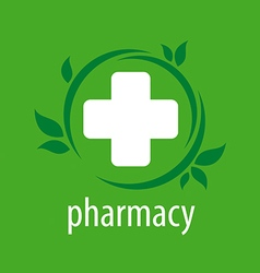 logo for pharmacies on a green background vector image
