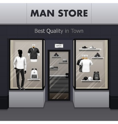 Man Sportswear Store Realistic Street View vector image vector image