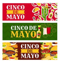 Mexican cinco de mayo holiday food greeting banner vector