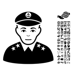 Military captain flat icon with bonus vector