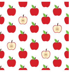 pattern with whole apple and cut vector image vector image