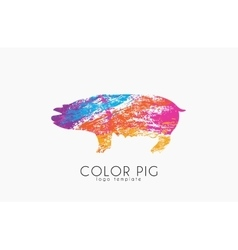 Pig Pig logo Color pig Creative logo design vector image