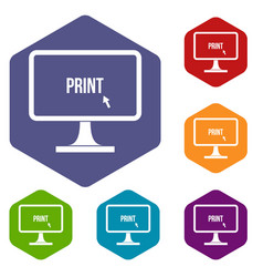 Print word on a computer monitor icons set vector