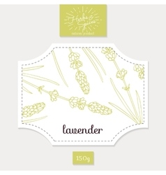Product sticker with hand drawn lavender leaves vector