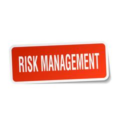 Risk management square sticker on white vector
