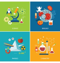 Science concept physics chemistrybiology flat desi vector