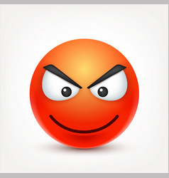 smileyangry emoticon red face with emotions vector image