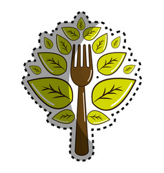 Sticker fork kitchen tool with leaves vector