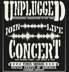 vintage concert typographic for t-shirt tee vector image