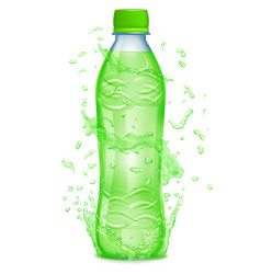 water splashes around a plastic bottle vector image vector image