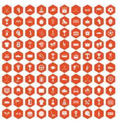 100 awards icons hexagon orange vector