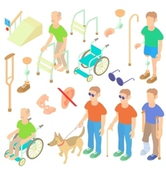 Disabled people care icons set isometric 3d style vector