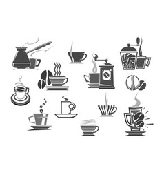 coffee drinks and coffeemakers icons vector image