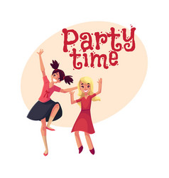 two girls dancing at party blue dress teenager vector image