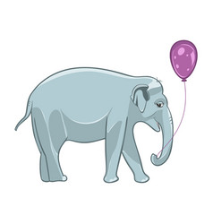 Smiling baby elephant with purple balloon vector