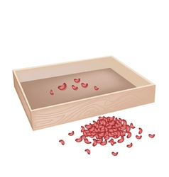 A stack of kidney bean with wooden container vector