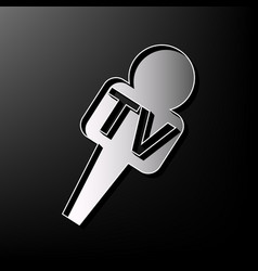 Tv microphone sign   gray 3d vector