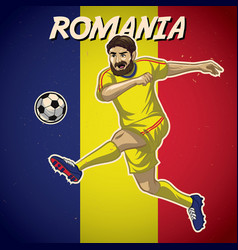 Romania soccer player with flag background vector