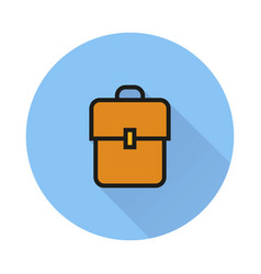 Backpack book bag icon on round background vector