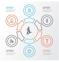 Person outline icons set collection of worker vector