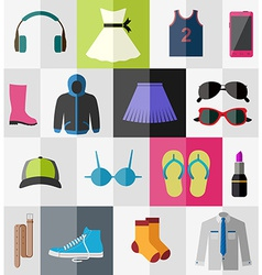 Flat icons of teenage clothes vector