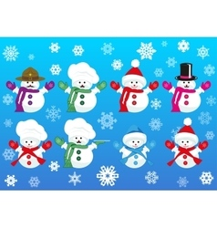 Set of snowmen wearing different hats vector
