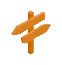 Wooden direction arrow sign isometric 3d icon vector