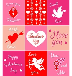Decorative pink cards for valentines day vector