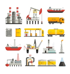 Oil petrol industry icons set vector