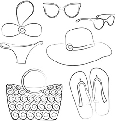 Summer beach accessories set vector