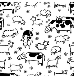 Farm livestock seamless pattern vector